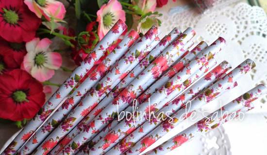 Palhas 25 unidades - Flores Rosa e Roxo