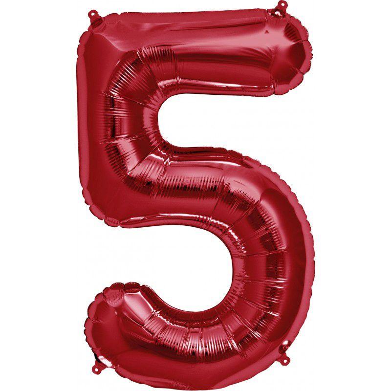 """Balão Foil 34 """"nº 5 Vermelho"""