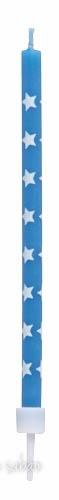 Velas Estrelas Azul 12 unidades - 10 cm