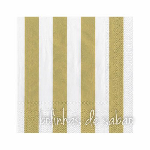 Guardanapos Riscas Dourado 33 cm - 20 unidades