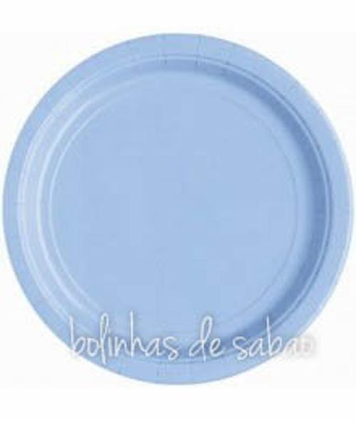 Pratos Lisos 23cm 8 unidades - Azul Bebe
