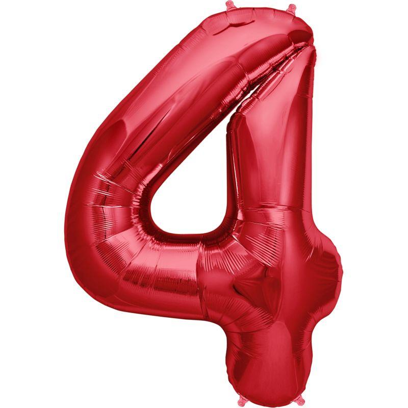 """Balão Foil 34 """"nº 4 Vermelho"""