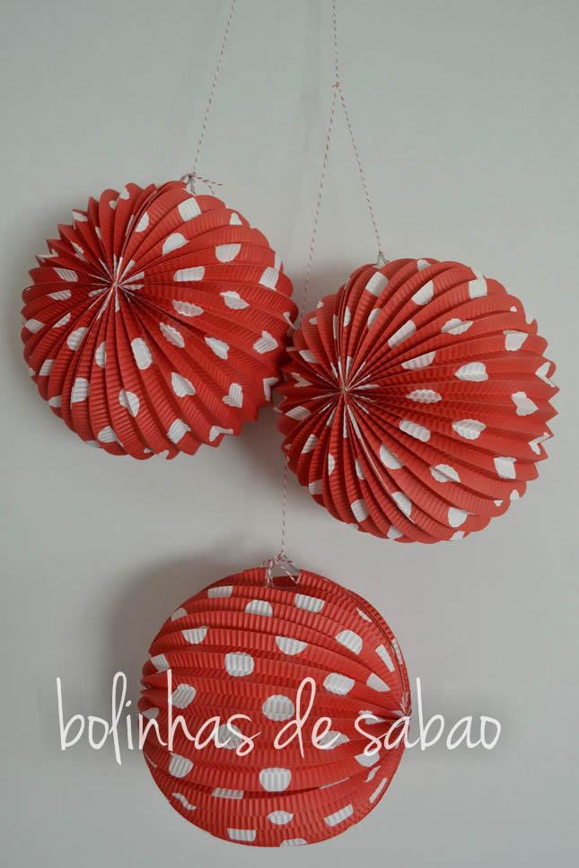 Balão de Papel Bolas Vermelho