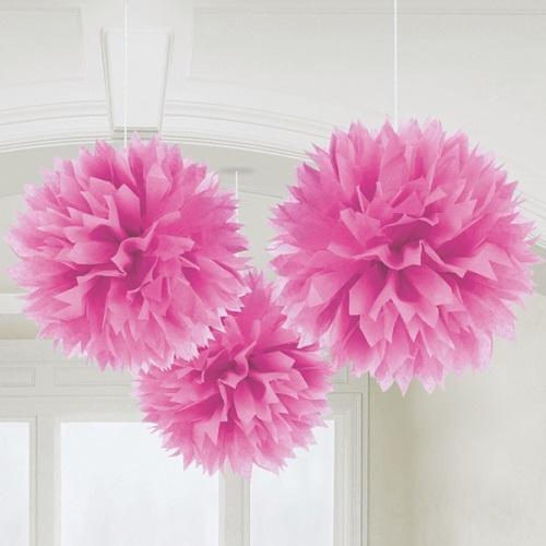 Conjunto 3 Pompons de Papel 40 cm - Rosa