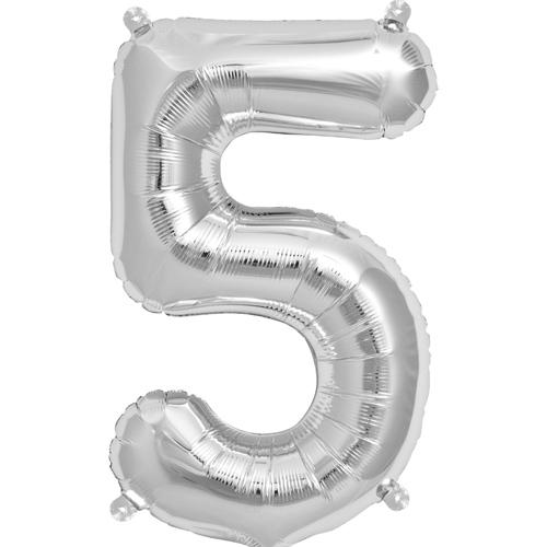 """Balão Foil 34 """"nº 5 Prata"""