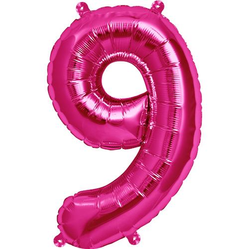 """Balão Foil 34 """"nº 9 Fucsia"""