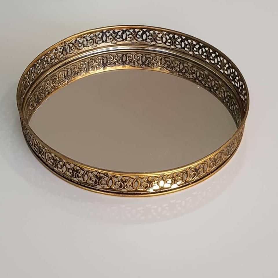 Bandeja Redonda Metal Dourado e Espelho