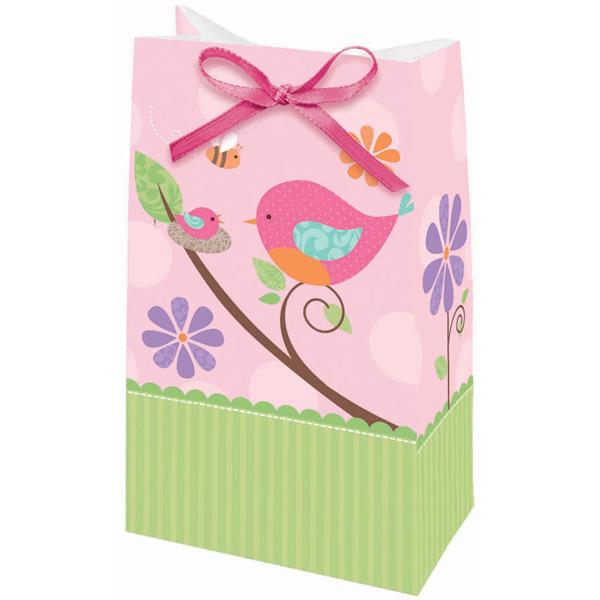 Saquetas passarinhos rosa e verde - 12 unidades