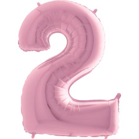 """Balão Foil 40 """"nº 2 Rosa Bebé"""