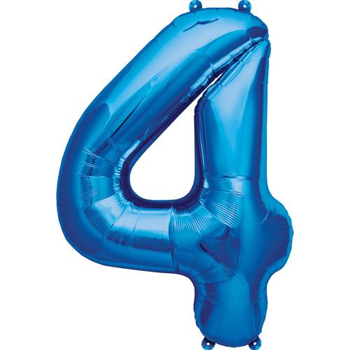 """Balão Foil 34 """"nº 4 Azul"""