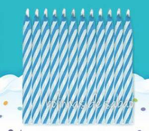 Velas Riscas 20 unidades - Azul Claro