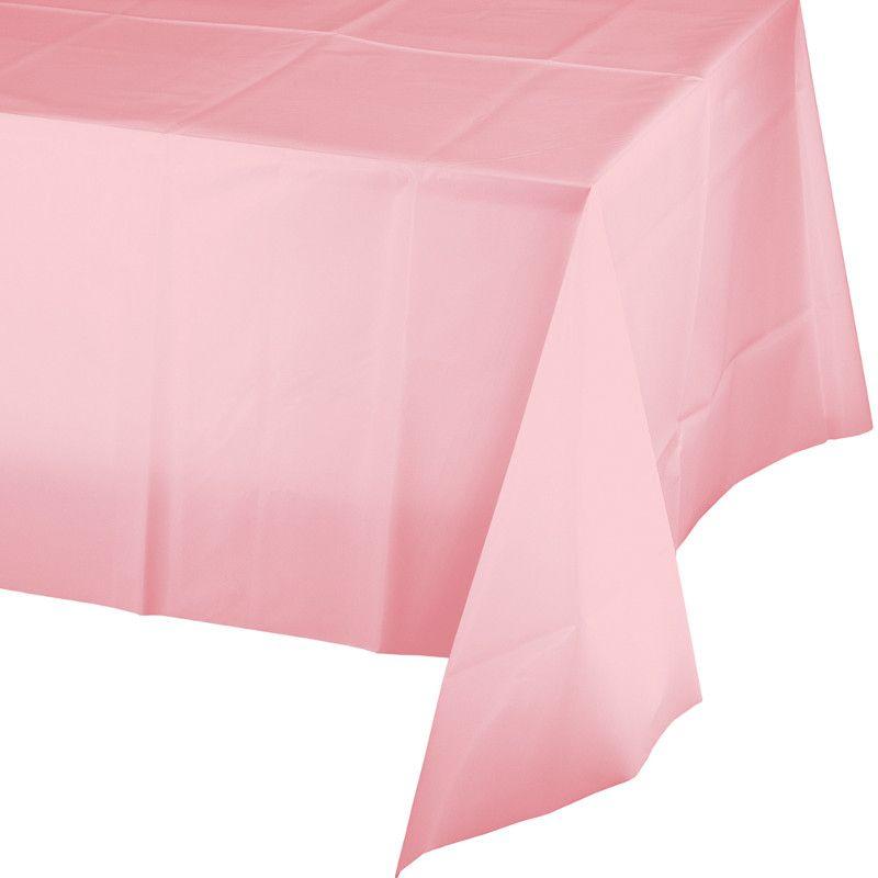 Toalha de Mesa Plástico - Rosa Bebé