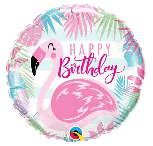"""Balão Foil 18"""" Happy Birthday Flamingo"""