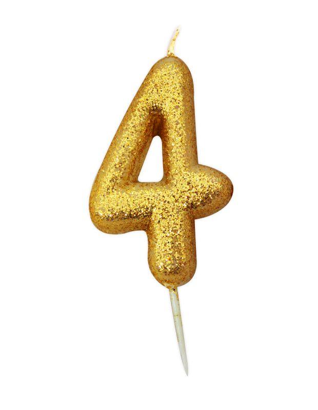 Vela Glitter Ouro nº4