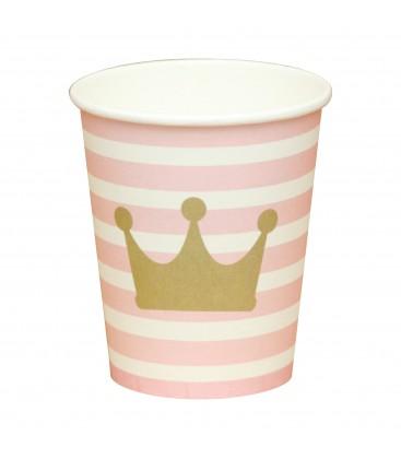 10 Copos de papel Princesas - Coroa