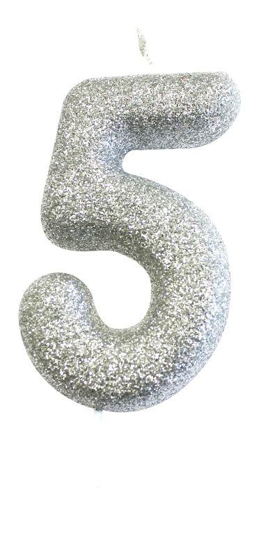 Vela Glitter Prata nº5