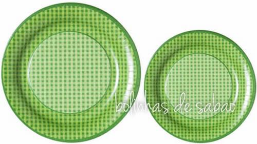 Pratos com Quadrados 18cm 20 unidades - Verde