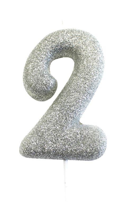 Vela Glitter Prata nº2