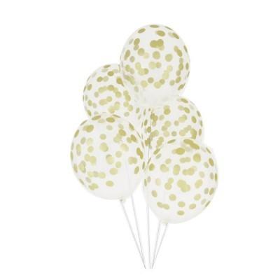 Balões Com Confetis 6 unidades - Transparente e Dourado