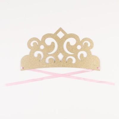 Tiaras Papel Glitter Dourado - 4 unidades