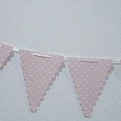 Bandeira Bolinhas Rosa e Branco