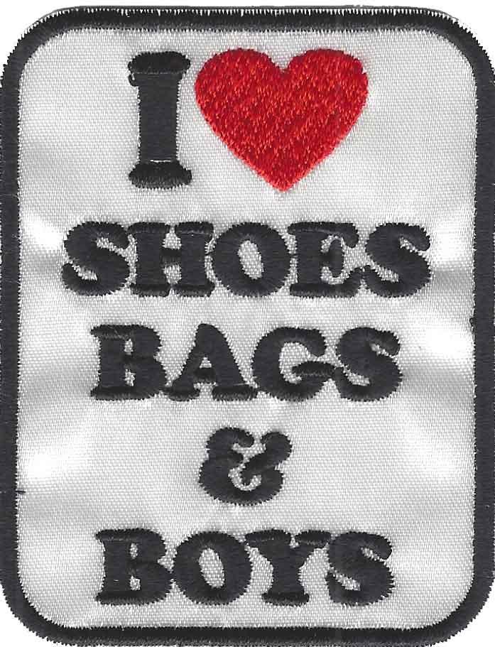 "Emblema ""I love shoes, bags & boys"""