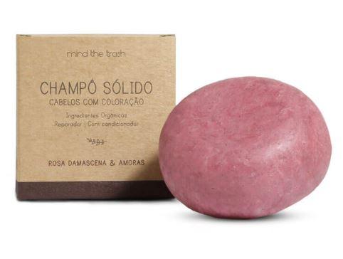 Champô com Condicionador Sólido de Rosa Damascena e Amoras para Cabelos Com Coloração - Mind The Trash