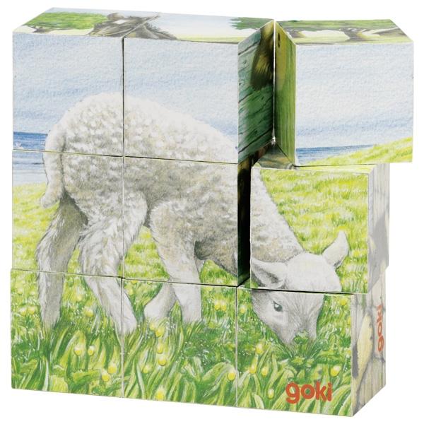 Puzzle de Cubos Animais da Quinta - Goki