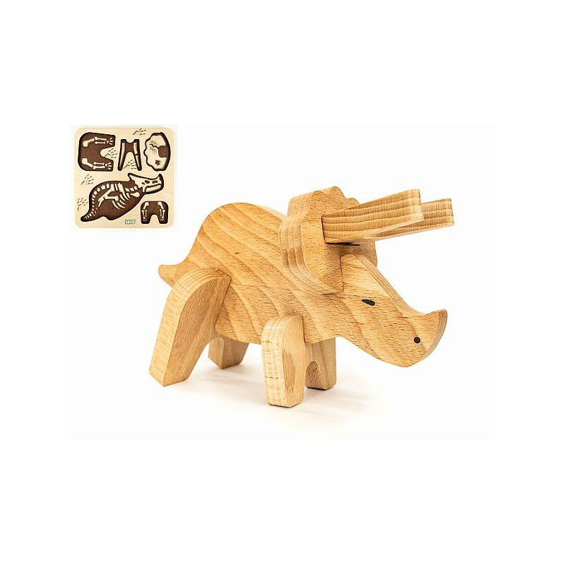 Triceratops de Madeira & Puzzle de Encaixe - Bajo