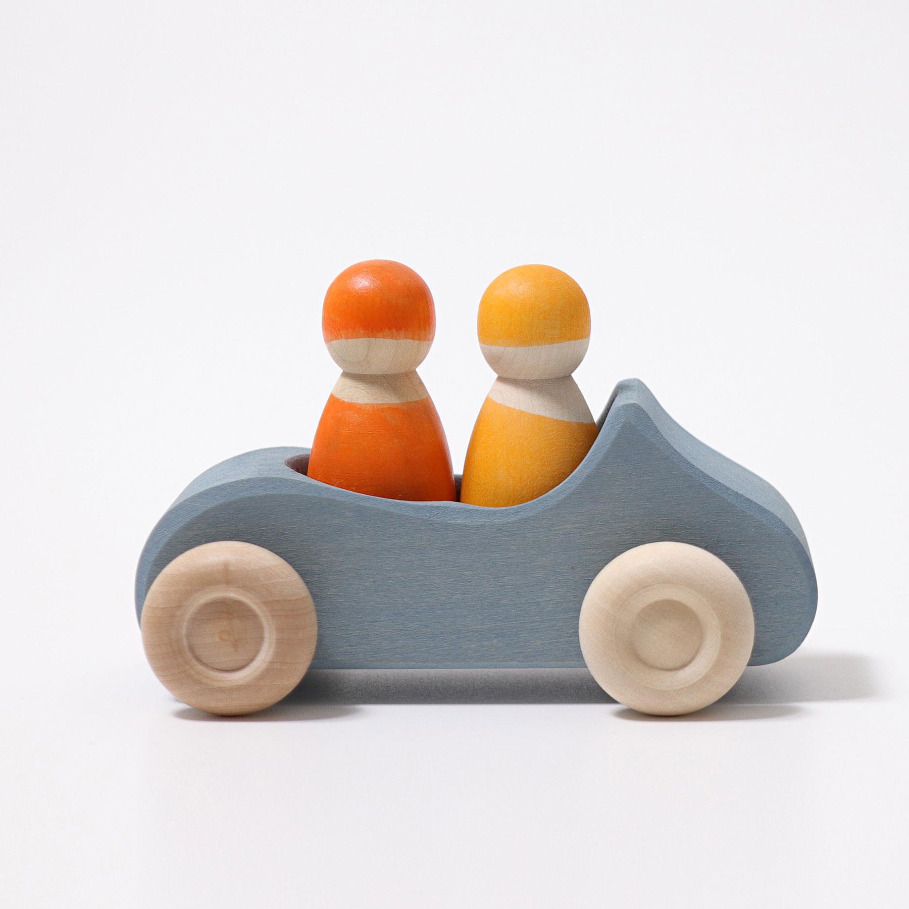 Carro Azul e 2 Bonecos Peg Amarelo e Laranja - Grimm's