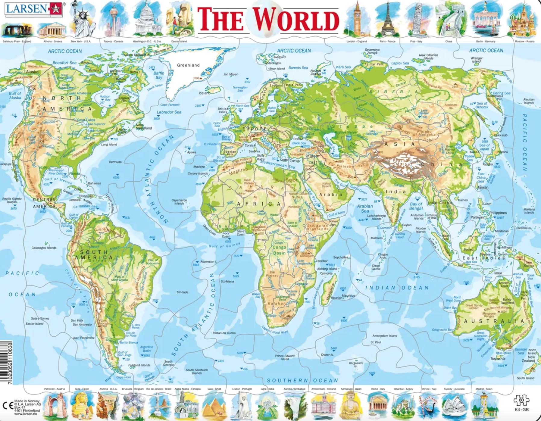 Puzzle Do Mapa do Mundo - Larsen