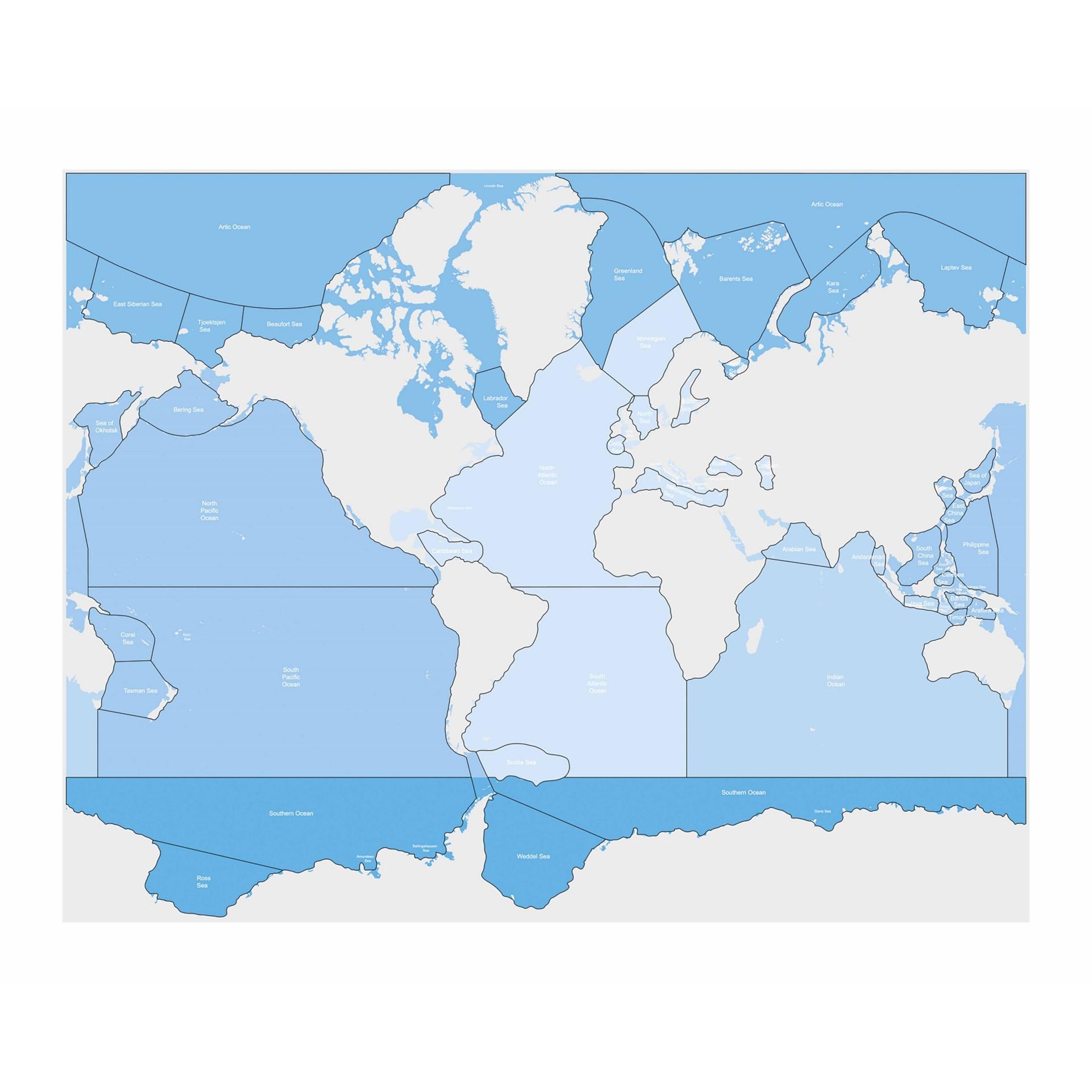 Mapa de Mares e Oceanos - Nienhuis Montessori