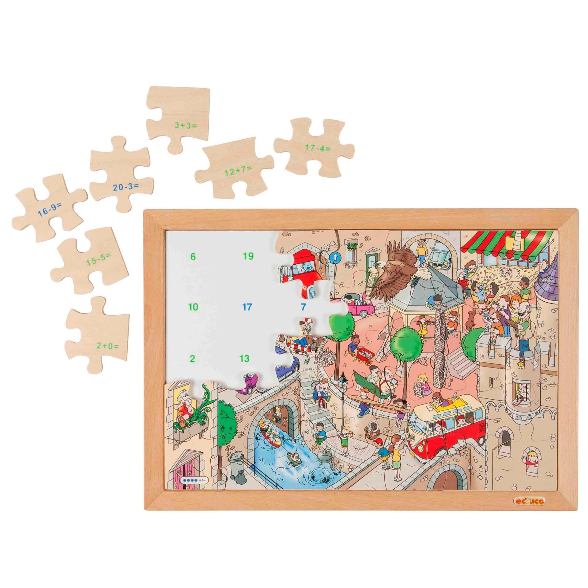 Praça da Cidade Animada - Puzzle da Matemática Adição e Subtração até 20