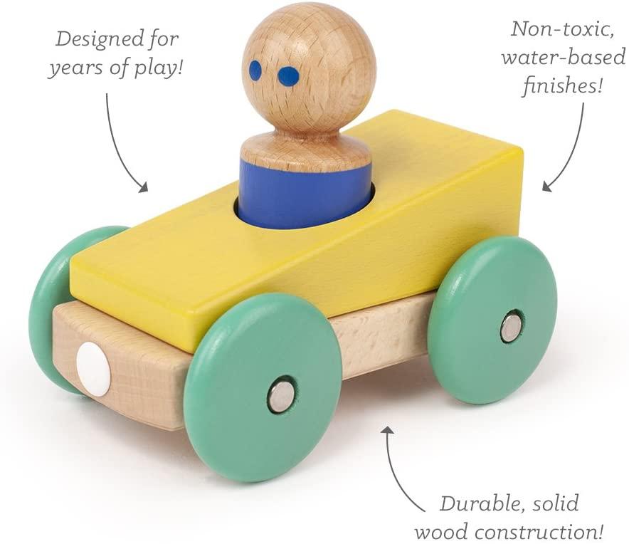 Carro de Corrida Magnético Amarelo - Tegu