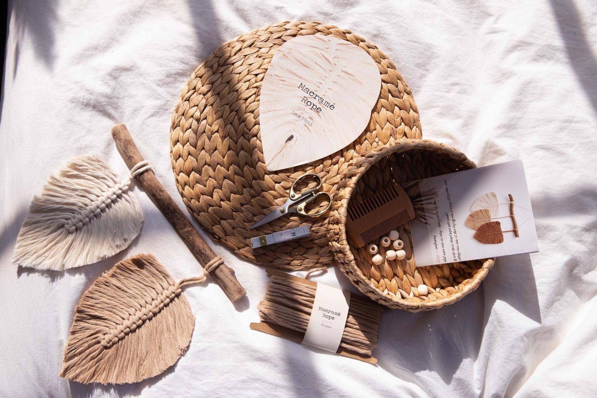 Kit DIY Macramé de 2 Folhas Natural