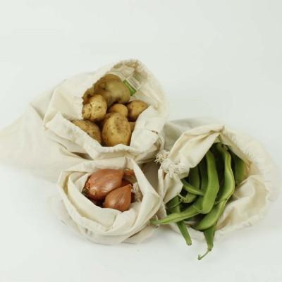 Conjunto de 3 Sacos Reutilizáveis Orgânicos - Slice of Green