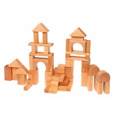 60 Blocos Geométricos de construção, natural - Grimm's