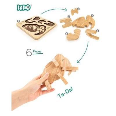 Mamute de Madeira & Puzzle de Encaixe - Bajo