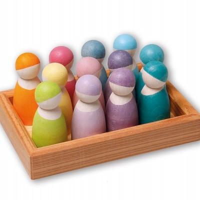 12 Bonecos Peg Arco-Íris Pastel - Grimm's