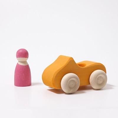 Carro Amarelo e Boneco Peg Rosa- Grimm's