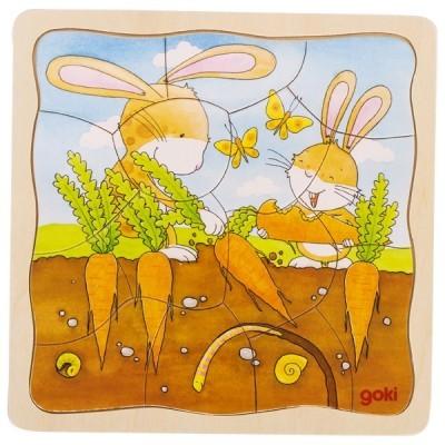 Puzzle em Camadas Coelho a Plantar - Goki