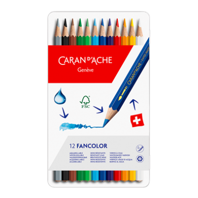 12 Lápis Aquareláveis FANCOLOR | Caran d'Ache