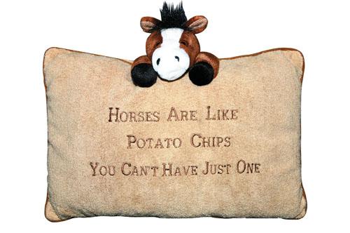 "Almofada HKM ""Horses are like potato chips"""