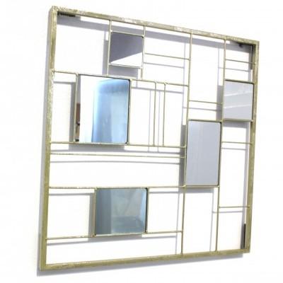 Espelho Quadrados Dourado