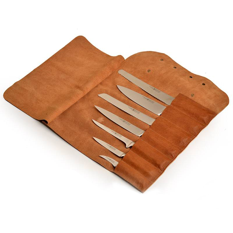 LEATHER KNIFE ROLL RUST 7 KNIVES