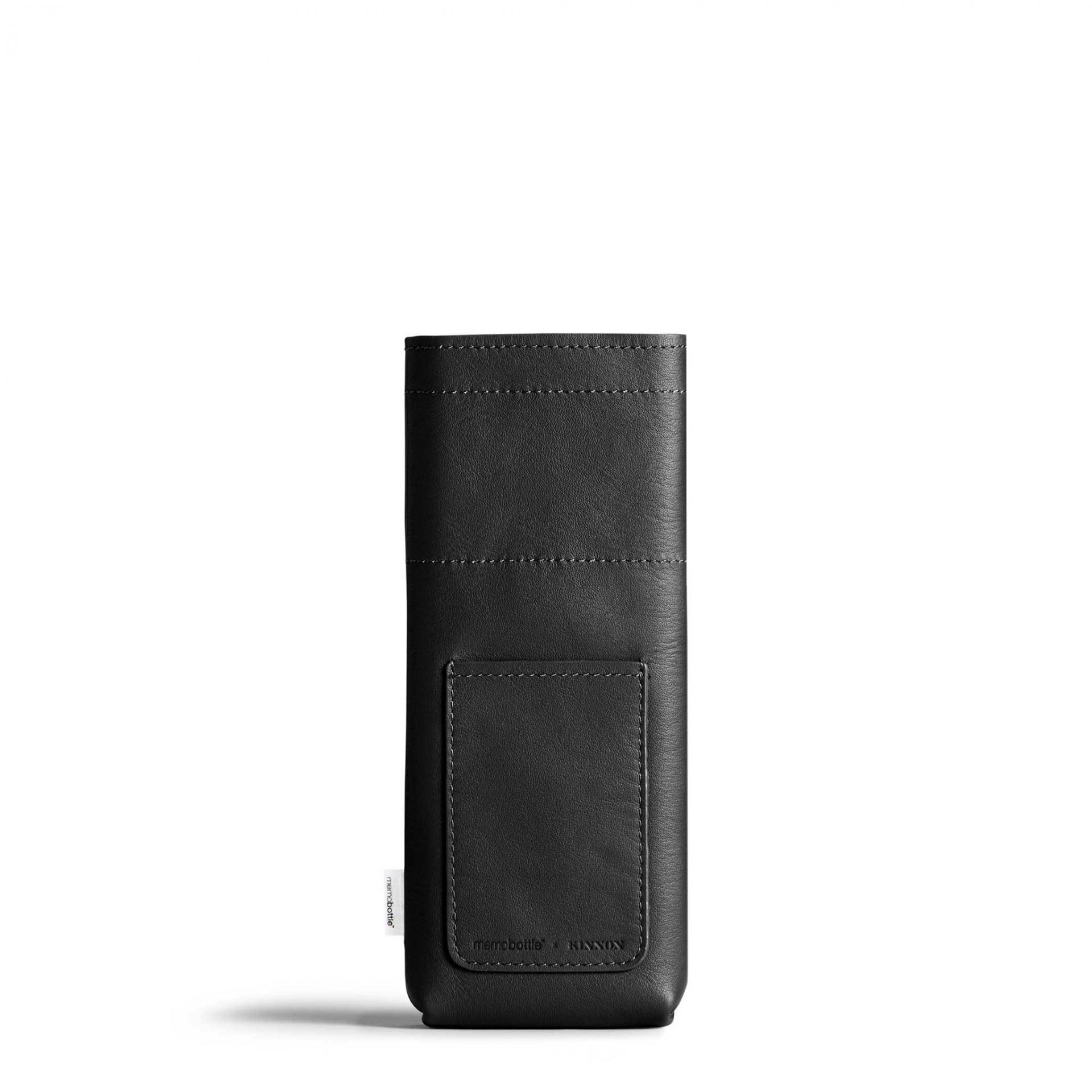 Slim Black Leather Sleeve memobottle