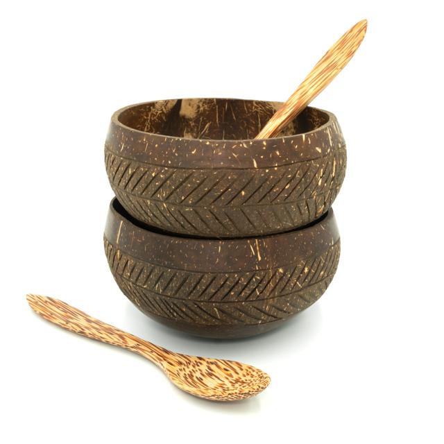 Coconut Bowl Set _  Geometric - Pattern D