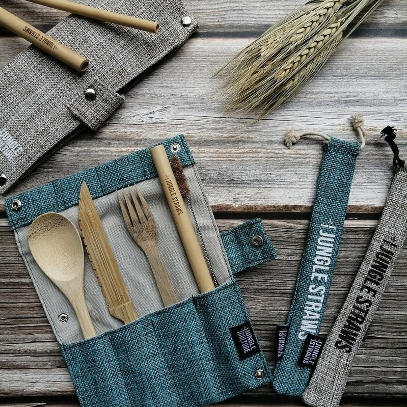 Bamboo Cutlery Set _ Berry / Cereja
