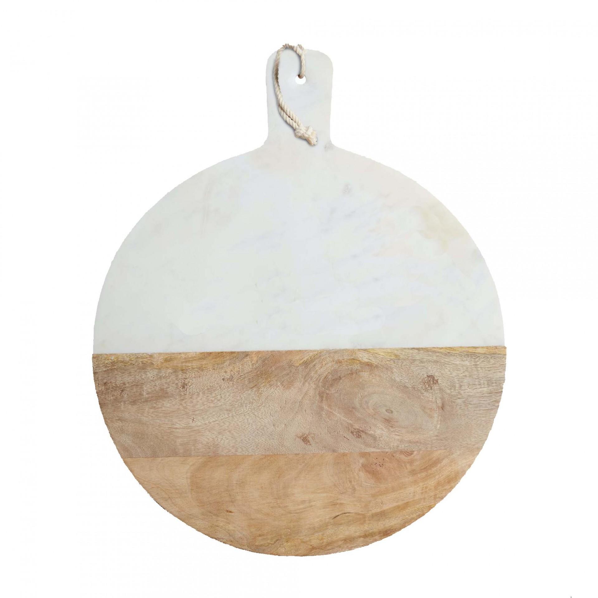 Marble & Wood Paddle Serving Board _ Ø40cm