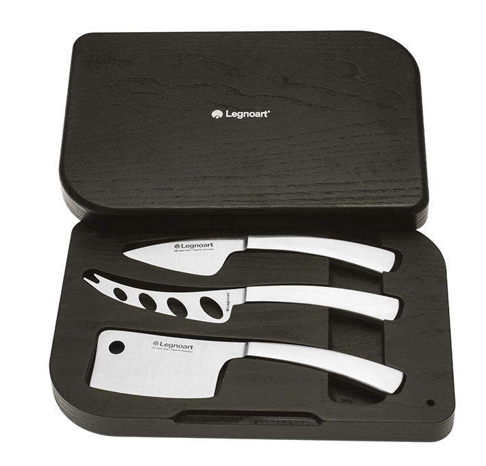 """Facas de Queijo / Cheese knife set """"Lattevivo"""" in fully forged stainless steel"""